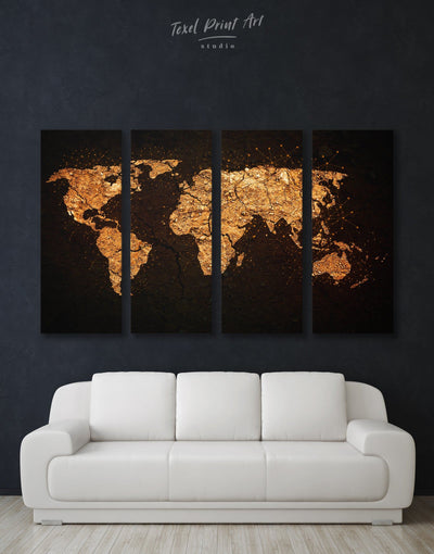 4 Panels Golden World Map Wall Art Canvas Print - 4 Panels Abstract map bedroom black black and gold wall art