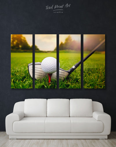 4 Panels Golf Ball Wall Art Canvas Print - 4 Panels bachelor pad bedroom Green Hallway