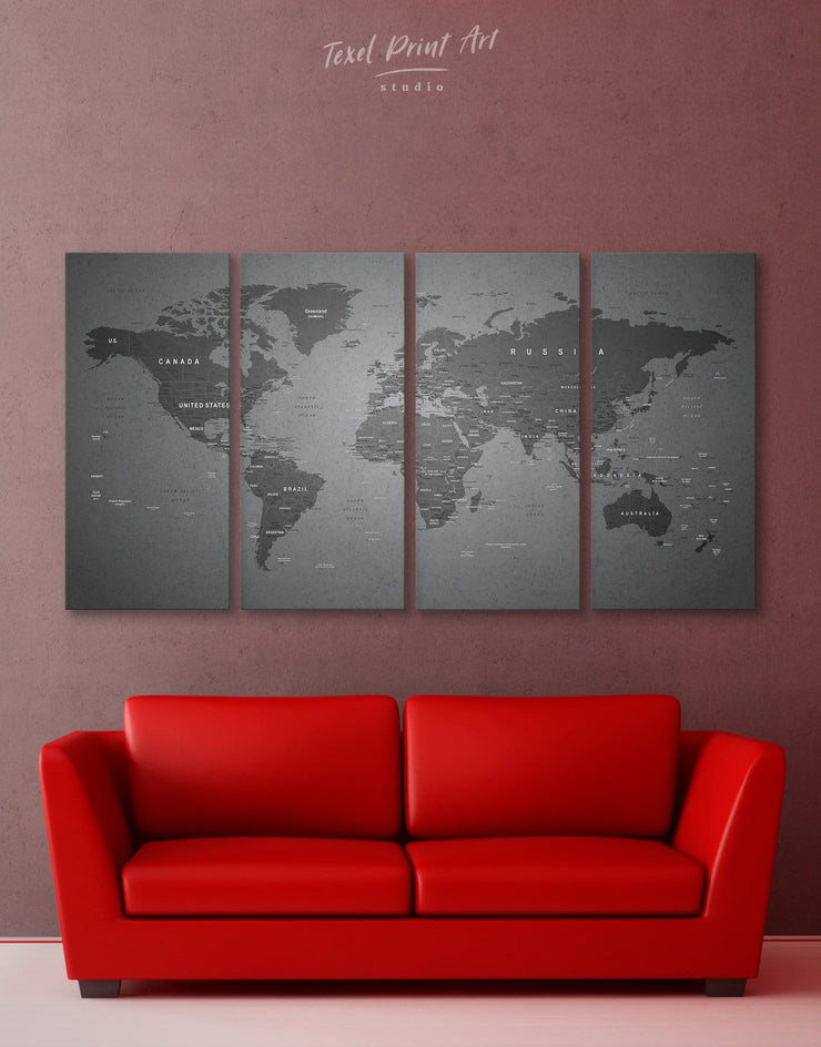 4 Panels Grey World Map Wall Art Canvas Print - 4 Panels bedroom Contemporary contemporary wall art Grey
