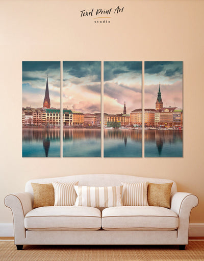 4 Panels Hamburg Cityscape Wall Art Canvas Print - 4 Panels bedroom City Skyline Wall Art Cityscape Living Room