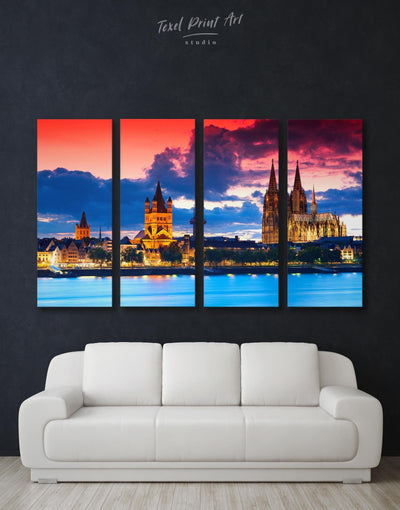 4 Panels Hamburg Scape Wall Art Canvas Print - Canvas Wall Art 4 Panels bedroom City Skyline Wall Art Cityscape Hallway