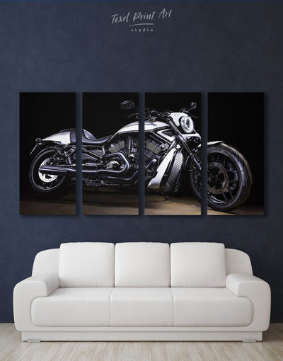 4 Panels Harley Davidson Motorcycle Wall Art Canvas Print - 4 Panels bachelor pad garage wall art Living Room manly wall art