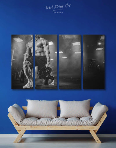 4 Panels Home Gym Wall Art Canvas Print - 4 panels black and white wall art Home Gym inspirational wall art Living Room