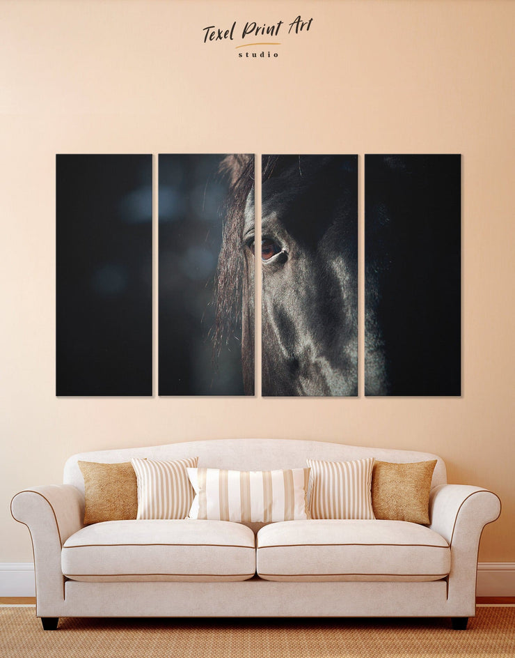 4 Panels Horse Head Wall Art Canvas Print - 4 panels Animal bedroom black and white wall art Farmhouse