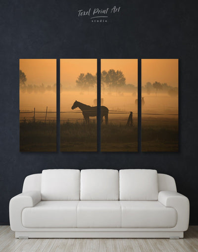 4 Panels Horse on Pasture Wall Art Canvas Print - 4 Panels Animal Animals Brown Farmhouse