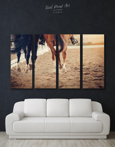 4 Panels Horse Racing Wall Art Canvas Print - Canvas Wall Art 4 Panels Animal Animals Hallway horse wall art