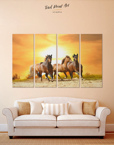 4 Panels Horses Wall Art Canvas Print - 4 Panels Animal Animals Farmhouse horse wall art