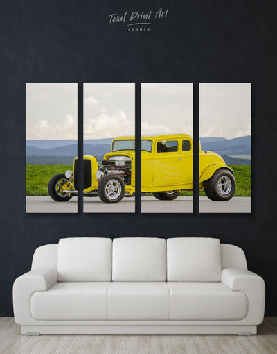 4 Panels Hot Rod Retro Car Wall Art Canvas Print - 4 Panels bachelor pad car garage wall art Hallway