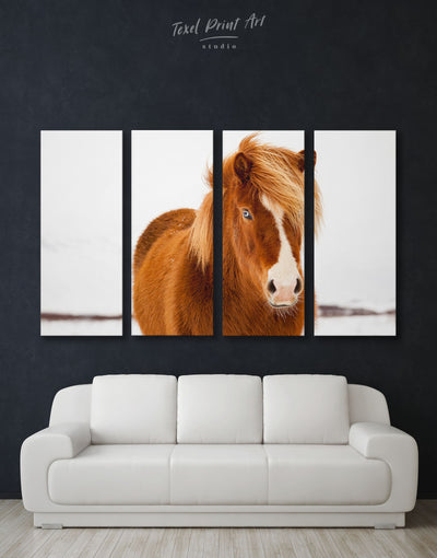4 Panels Icelandic Horse Wall Art Canvas Print - 4 Panels Animal Animals bedroom brown