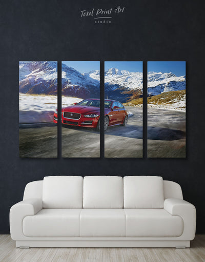 4 Panels Jaguar XE Wall Art Canvas Print - 4 Panels bachelor pad car garage wall art Hallway