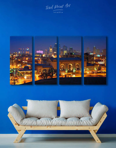 4 Panels Kansas City Skyline Canvas Wall Art - Canvas Wall Art 4 Panels