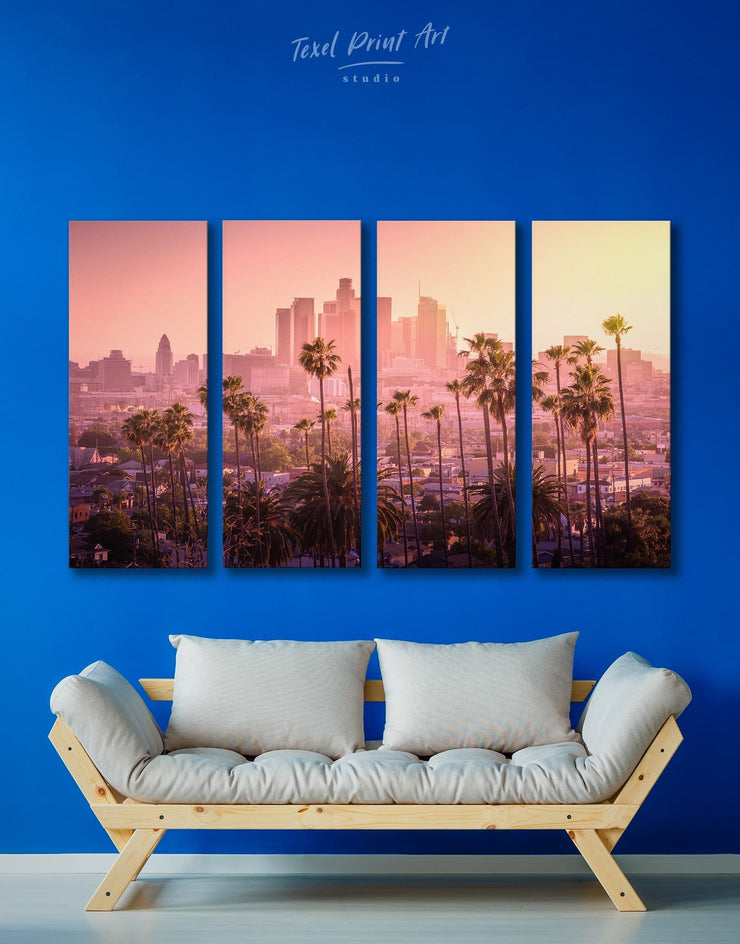4 Panels LA Skyline Canvas Wall Art - Canvas Wall Art 4 Panels bedroom City Skyline Wall Art Cityscape florida wall art
