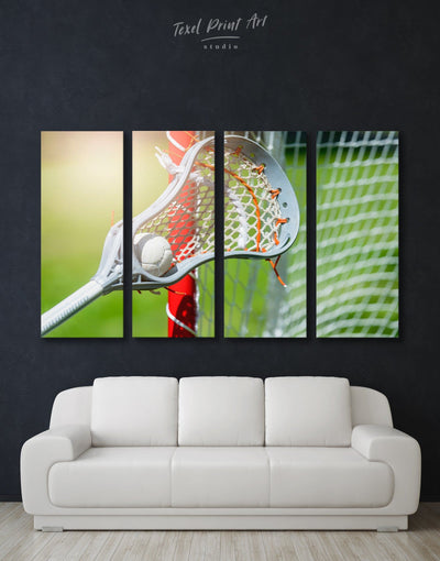 4 Panels Lacrosse Wall Art Canvas Print - Canvas Wall Art 4 Panels bachelor pad green Hallway lacrosse