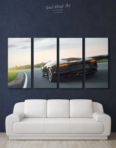 4 Panels Lamborghini 4k Wall Art Canvas Print - 4 Panels bachelor pad Car garage wall art Living Room