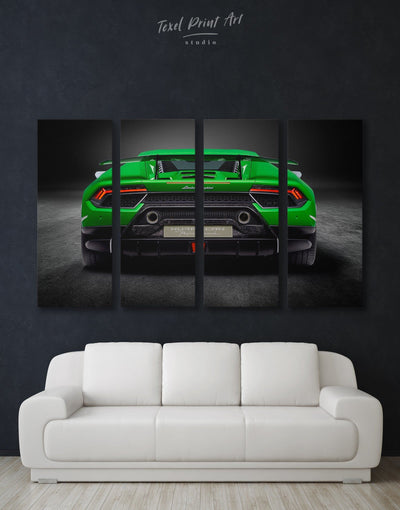 4 Panels Lamborghini Huracan Performante Wall Art Canvas Print - 4 Panels bachelor pad Car garage wall art Green