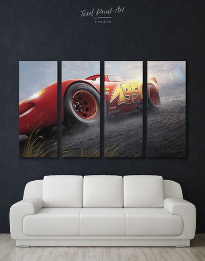 4 Panels Lightning Cars 3 Wall Art Canvas Print - 4 Panels bedroom Car disney Kids room