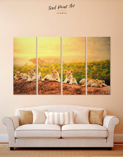 4 Panels Lion Family Wall Art Canvas Print - 4 Panels Animal Animals bedroom lion wall art