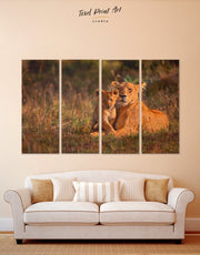 4 Panels Lioness and Baby Lion Wall Art Canvas Print