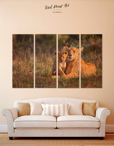 4 Panels Lioness and Baby Lion Wall Art Canvas Print - 4 Panels Animal Animals lion wall art Nature