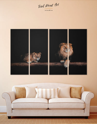 4 Panels Lions Couple Wall Art Canvas Print - 4 panels Animal bedroom black and gold wall art lion wall art