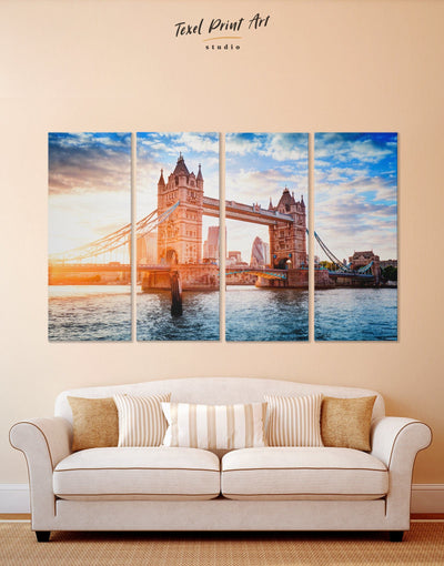 4 Panels London Bridge Wall Art Canvas Print - 4 Panels Architectural Wall Art bedroom Blue Bridge