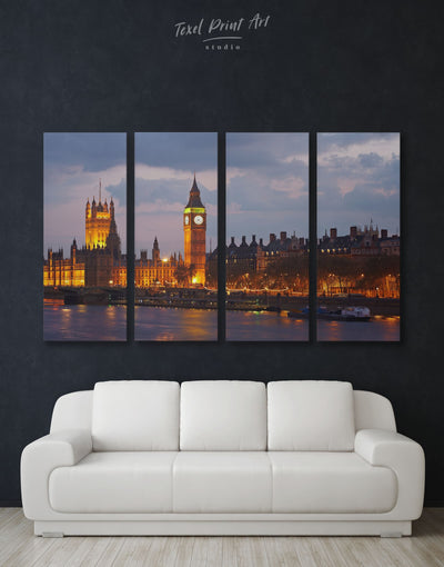 4 Panels London Skyline Wall Art Canvas Print - 4 Panels bedroom City Skyline Wall Art Cityscape Living Room