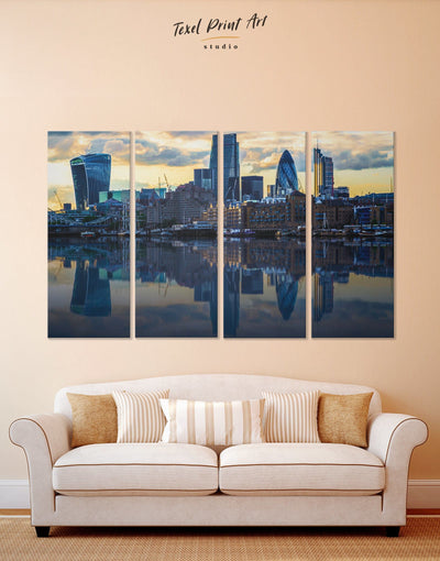 4 Panels London Wall Art Canvas Print - 4 panels bedroom blue City Skyline Wall Art Cityscape