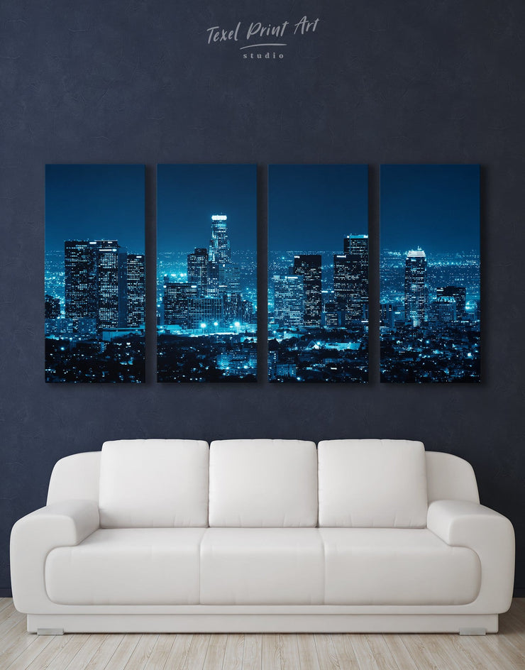 4 Panels Los Angeles Skyline Wall Art Canvas Print - Canvas Wall Art 4 Panels bedroom City Skyline Wall Art Cityscape Hallway