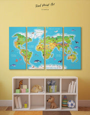 4 Panels Map Nursery Wall Art Canvas Print
