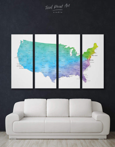 4 Panels Map of the USA Wall Art Canvas Print - 4 Panels bedroom Blue blue and white contemporary wall art