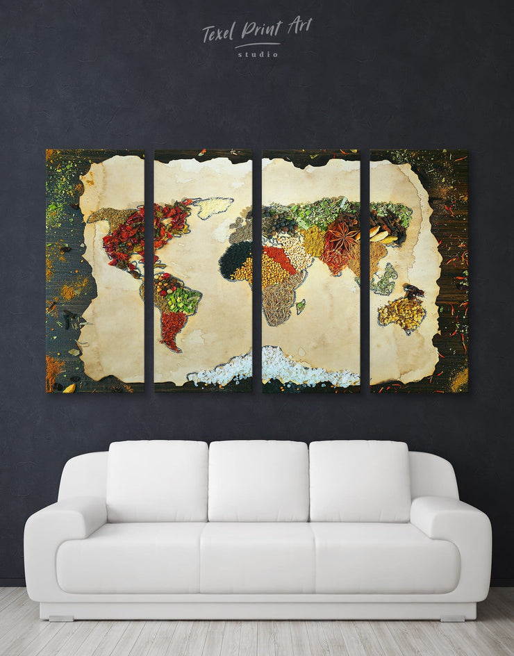 4 Panels Map with Spice Wall Art Canvas Print - 4 panels Abstract Abstract map abstract world map wall art bedroom