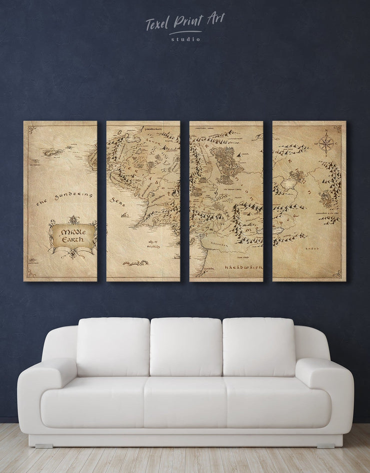 4 Panels Middle Earth Map Wall Art Canvas Print - 4 Panels Antique bedroom Library Living Room