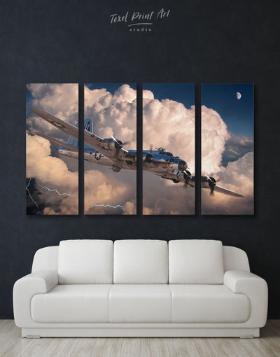 4 Panels Military Aircraft Wall Art Canvas Print - 4 Panels airplane wall art bachelor pad Hallway Living Room