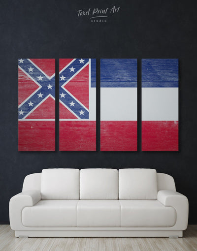4 Panels Mississippi State Flag Wall Art Canvas Print - Canvas Wall Art 4 Panels blue flag wall art Hallway Living Room