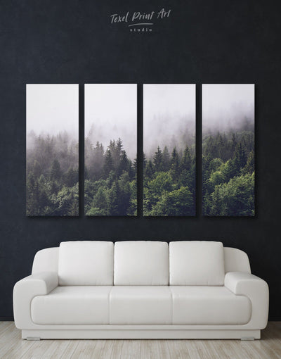 4 Panels Misty Forest Wall Art Canvas Print - 4 Panels bedroom forest wall art Hallway landscape wall art