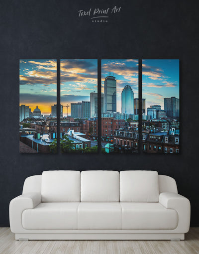 4 Panels Modern Boston Wall Art Canvas Print - 4 Panels Blue Boston City Skyline Wall Art Cityscape