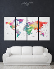 4 Panels Modern Detailed World Map Wall Art Canvas Print