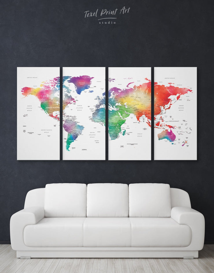4 Panels Modern Detailed World Map Wall Art Canvas Print - 4 Panels bedroom blue contemporary wall art green