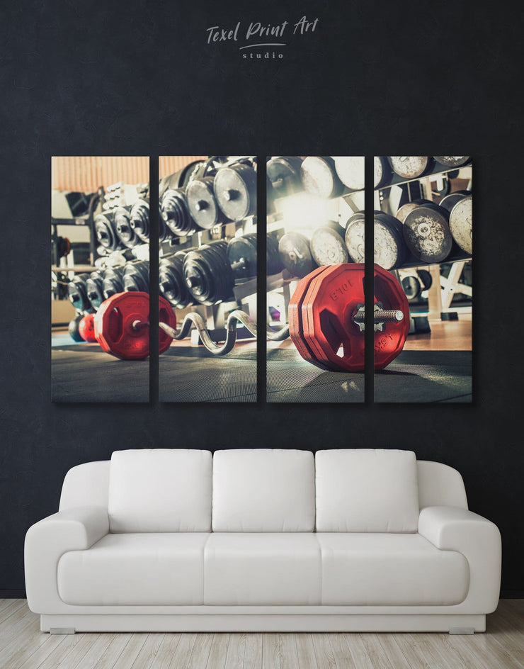 4 Panels Modern Gym Wall Art Canvas Print - 4 panels Home Gym Living Room Motivational Sports