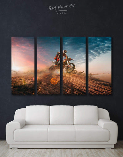 4 Panels Motocross Wall Art Canvas Print - Canvas Wall Art 4 Panels bachelor pad Hallway Living Room manly wall art