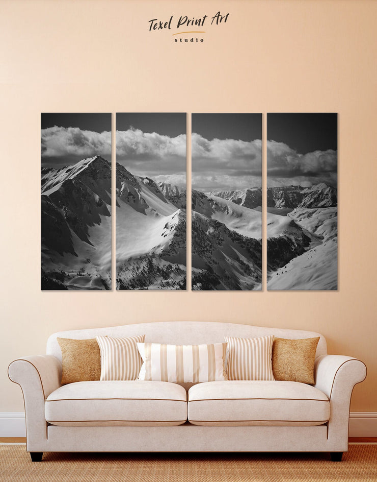 4 Panels Mountain Black and White Wall Art Canvas Print - 4 Panels bedroom black and white Hallway landscape wall art