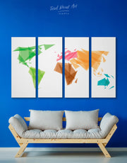 4 Panels Multicolor Continents on World Map Wall Art Canvas Print