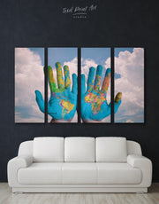 4 Panels Multicolor Map On Hands Wall Art Canvas Print