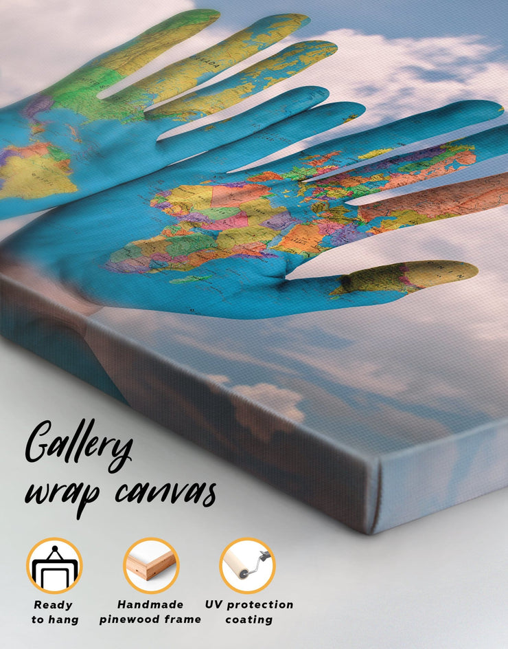 4 Panels Multicolor Map On Hands Wall Art Canvas Print - Canvas Wall Art 4 Panels Blue Contemporary Hallway Living Room
