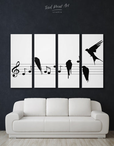 4 Panels Music Notes Wall Art Canvas Print - 4 Panels bedroom Black black and white wall art Hallway