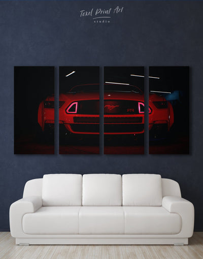 4 Panels Mustang Wall Art Canvas Print - 4 Panels bachelor pad black car garage wall art