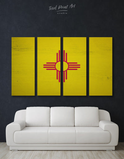 4 Panels New Mexico State Flag Wall Art Canvas Print - Canvas Wall Art 4 Panels flag wall art Hallway Living Room Office Wall Art