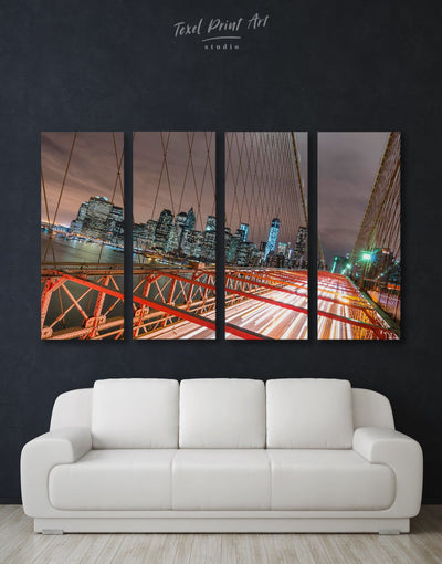 4 Panels New York Brooklyn Bridge Wall Art Canvas Print - 4 Panels bedroom Bridge Brooklyn bridge wall art City Skyline Wall Art