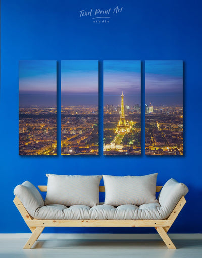 4 Panels Night Paris Cityscape Wall Art Canvas Print - 4 Panels bedroom eiffel tower wall art french wall art Living Room