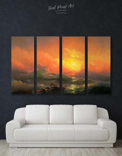 4 Panels Ninth Wave by Aivazovsky Wall Art Canvas Print - 4 Panels bedroom Hallway Living Room Nature